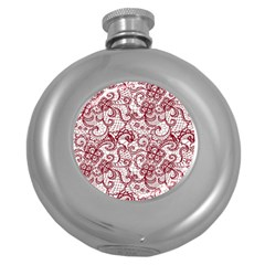 Transparent Lace With Flowers Decoration Round Hip Flask (5 Oz)