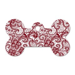 Transparent Lace With Flowers Decoration Dog Tag Bone (two Sides)