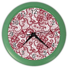 Transparent Lace With Flowers Decoration Color Wall Clocks
