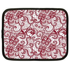 Transparent Lace With Flowers Decoration Netbook Case (Large)