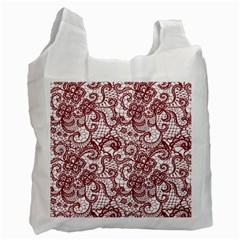 Transparent Lace With Flowers Decoration Recycle Bag (two Side)
