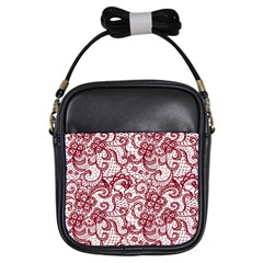 Transparent Lace With Flowers Decoration Girls Sling Bags