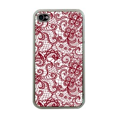 Transparent Lace With Flowers Decoration Apple Iphone 4 Case (clear)
