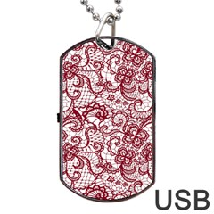 Transparent Lace With Flowers Decoration Dog Tag Usb Flash (one Side)