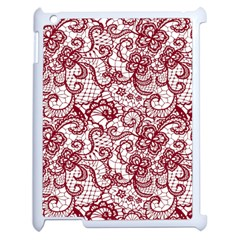 Transparent Lace With Flowers Decoration Apple Ipad 2 Case (white)