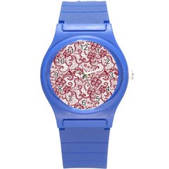 Transparent Lace With Flowers Decoration Round Plastic Sport Watch (S)