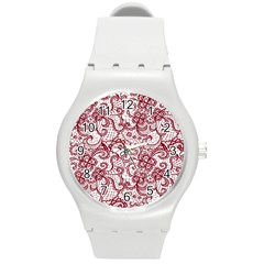 Transparent Lace With Flowers Decoration Round Plastic Sport Watch (M)