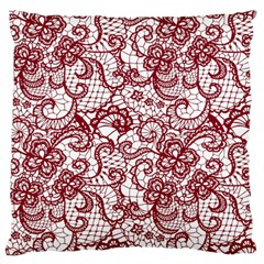Transparent Lace With Flowers Decoration Large Cushion Case (Two Sides)