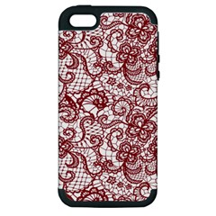 Transparent Lace With Flowers Decoration Apple Iphone 5 Hardshell Case (pc+silicone)