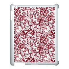 Transparent Lace With Flowers Decoration Apple Ipad 3/4 Case (white)