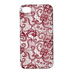 Transparent Lace With Flowers Decoration Apple iPhone 4/4S Hardshell Case with Stand