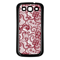 Transparent Lace With Flowers Decoration Samsung Galaxy S3 Back Case (black)
