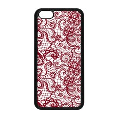 Transparent Lace With Flowers Decoration Apple Iphone 5c Seamless Case (black)