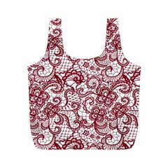 Transparent Lace With Flowers Decoration Full Print Recycle Bags (m)