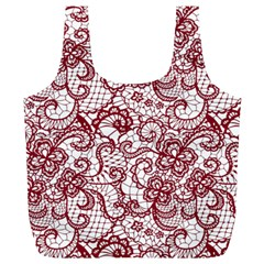 Transparent Lace With Flowers Decoration Full Print Recycle Bags (L)