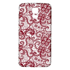 Transparent Lace With Flowers Decoration Samsung Galaxy S5 Back Case (white)