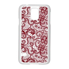 Transparent Lace With Flowers Decoration Samsung Galaxy S5 Case (white)