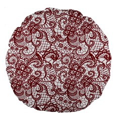 Transparent Lace With Flowers Decoration Large 18  Premium Flano Round Cushions