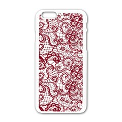 Transparent Lace With Flowers Decoration Apple Iphone 6/6s White Enamel Case