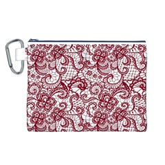 Transparent Lace With Flowers Decoration Canvas Cosmetic Bag (l)