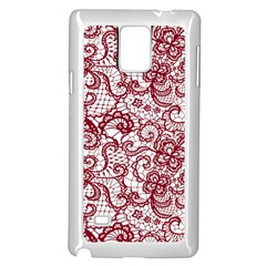 Transparent Lace With Flowers Decoration Samsung Galaxy Note 4 Case (white)