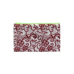 Transparent Lace With Flowers Decoration Cosmetic Bag (xs)