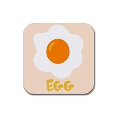 Egg Eating Chicken Omelette Food Rubber Coaster (square)