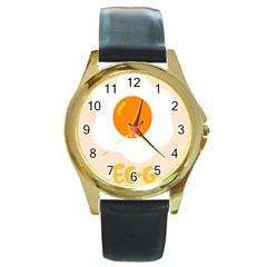 Egg Eating Chicken Omelette Food Round Gold Metal Watch