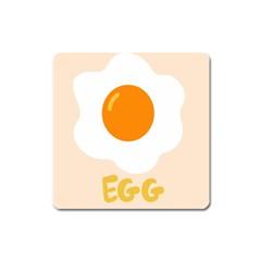 Egg Eating Chicken Omelette Food Square Magnet