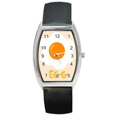 Egg Eating Chicken Omelette Food Barrel Style Metal Watch