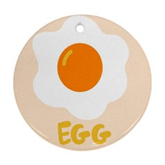 Egg Eating Chicken Omelette Food Round Ornament (two Sides)