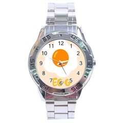 Egg Eating Chicken Omelette Food Stainless Steel Analogue Watch