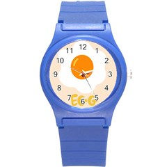 Egg Eating Chicken Omelette Food Round Plastic Sport Watch (s)