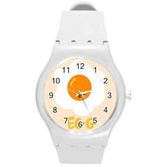 Egg Eating Chicken Omelette Food Round Plastic Sport Watch (m)