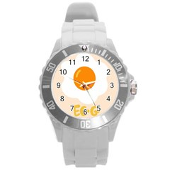 Egg Eating Chicken Omelette Food Round Plastic Sport Watch (l)