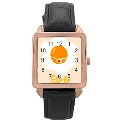 Egg Eating Chicken Omelette Food Rose Gold Leather Watch