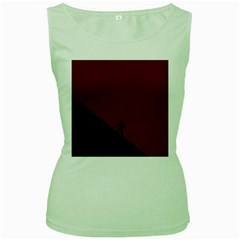 Walking Stairs Steps Person Step Women s Green Tank Top