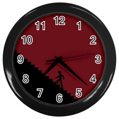 Walking Stairs Steps Person Step Wall Clocks (black)