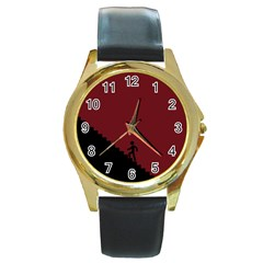 Walking Stairs Steps Person Step Round Gold Metal Watch