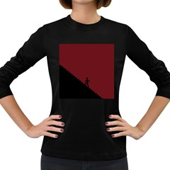 Walking Stairs Steps Person Step Women s Long Sleeve Dark T Shirts