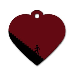 Walking Stairs Steps Person Step Dog Tag Heart (one Side)