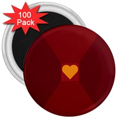 Heart Red Yellow Love Card Design 3  Magnets (100 pack)