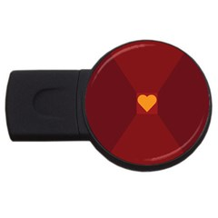 Heart Red Yellow Love Card Design USB Flash Drive Round (1 GB)