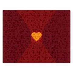 Heart Red Yellow Love Card Design Rectangular Jigsaw Puzzl