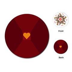Heart Red Yellow Love Card Design Playing Cards (Round)
