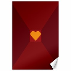 Heart Red Yellow Love Card Design Canvas 20  X 30