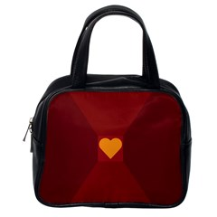 Heart Red Yellow Love Card Design Classic Handbags (one Side)