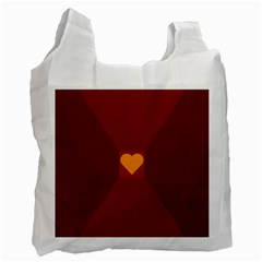 Heart Red Yellow Love Card Design Recycle Bag (two Side)