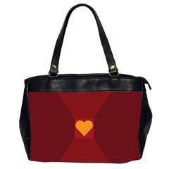 Heart Red Yellow Love Card Design Office Handbags (2 Sides)