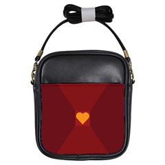 Heart Red Yellow Love Card Design Girls Sling Bags